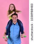 girl and man with happy and... | Shutterstock . vector #1038988483