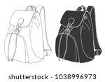 sketch of a rucksack. backpack... | Shutterstock .eps vector #1038996973