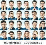 set of young man's portraits... | Shutterstock . vector #1039003633