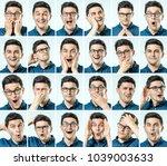 set of young man's portraits...   Shutterstock . vector #1039003633