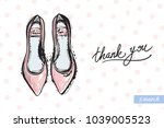 fashionable flat shoes with... | Shutterstock .eps vector #1039005523