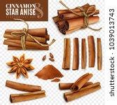 set of cinnamon sticks with... | Shutterstock .eps vector #1039013743