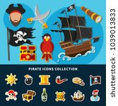 cartoon collection of pirate...   Shutterstock .eps vector #1039013833
