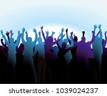 cheers and fun at the event ... | Shutterstock . vector #1039024237