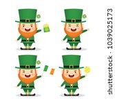 set of cute leprechaun with... | Shutterstock .eps vector #1039025173