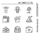 hiking and camping line icons... | Shutterstock .eps vector #1039028407