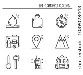 hiking and camping line icons... | Shutterstock .eps vector #1039028443