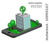 flat isometric mobile banking | Shutterstock .eps vector #1039031317