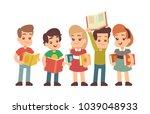 cartoon preschool children with ... | Shutterstock .eps vector #1039048933