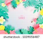 tropical floral with flamingo... | Shutterstock .eps vector #1039056487