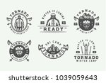 set of vintage snowboarding ... | Shutterstock .eps vector #1039059643