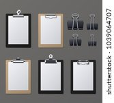 realistic clipboards with blank ... | Shutterstock .eps vector #1039064707