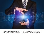 businessman with dna concept in ... | Shutterstock . vector #1039092127