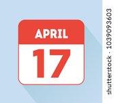 april 17 calendar icon flat red | Shutterstock .eps vector #1039093603