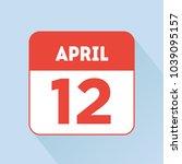 april 12 calendar icon flat red.... | Shutterstock .eps vector #1039095157