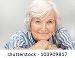 Senior Woman Portrait  On  Gre...