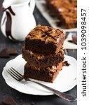 chocolate brownie cake piece... | Shutterstock . vector #1039098457
