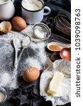 preparation baking kitchen... | Shutterstock . vector #1039098763