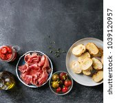 ingredients for making tapas or ... | Shutterstock . vector #1039120957