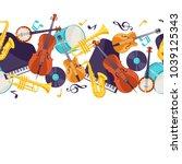 jazz music seamless pattern... | Shutterstock .eps vector #1039125343