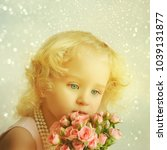 beautiful little girl with... | Shutterstock . vector #1039131877