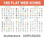 vector set of 180 flat web... | Shutterstock .eps vector #1039136203