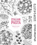 italian pasta frame. hand drawn ... | Shutterstock .eps vector #1039141573