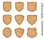 set of realistic wooden sign... | Shutterstock .eps vector #1039151263