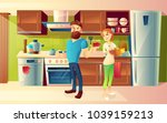 vector cartoon background with... | Shutterstock .eps vector #1039159213