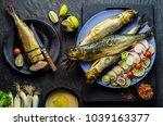 mediterranean food  smoked... | Shutterstock . vector #1039163377