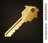 gold house key icon. vector... | Shutterstock .eps vector #1039169053