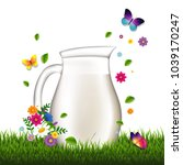jug with milk and grass and... | Shutterstock .eps vector #1039170247