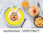 breakfast for kids. easter... | Shutterstock . vector #1039178677