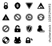 solid vector icon set   lock... | Shutterstock .eps vector #1039194493