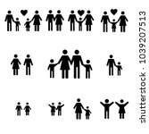 happy family set icon | Shutterstock .eps vector #1039207513