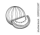 watermelon. black and white... | Shutterstock .eps vector #1039221187