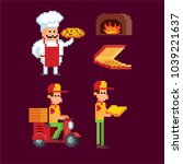 pizza delivery service icon set.... | Shutterstock .eps vector #1039221637
