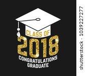 vector class of 2018 badge.... | Shutterstock .eps vector #1039227277