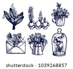 crocus  tulips  hyacinth  lily... | Shutterstock .eps vector #1039268857