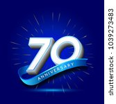 70th anniversary with ribbon  ... | Shutterstock .eps vector #1039273483