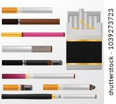 cigarette vector cigar with... | Shutterstock .eps vector #1039273723