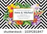 tropical hawaiian wedding... | Shutterstock .eps vector #1039281847