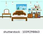 bedroom interior flat design...   Shutterstock .eps vector #1039298863