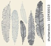 vintage feather vector set.... | Shutterstock .eps vector #103930013