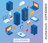 data network flowchart. flat 3d ... | Shutterstock . vector #1039300843
