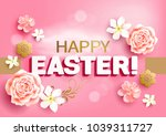 easter greeting card with roses ...   Shutterstock .eps vector #1039311727