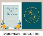 vector set of invitation cards... | Shutterstock .eps vector #1039378483