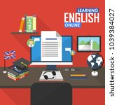 online education english... | Shutterstock . vector #1039384027