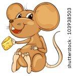cute cartoon mouse on white
