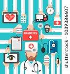 medical diabets flat design set ... | Shutterstock .eps vector #1039386607
